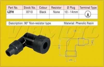 NGK Spark Plug Cap/Cover - LZFH Black - 8710
