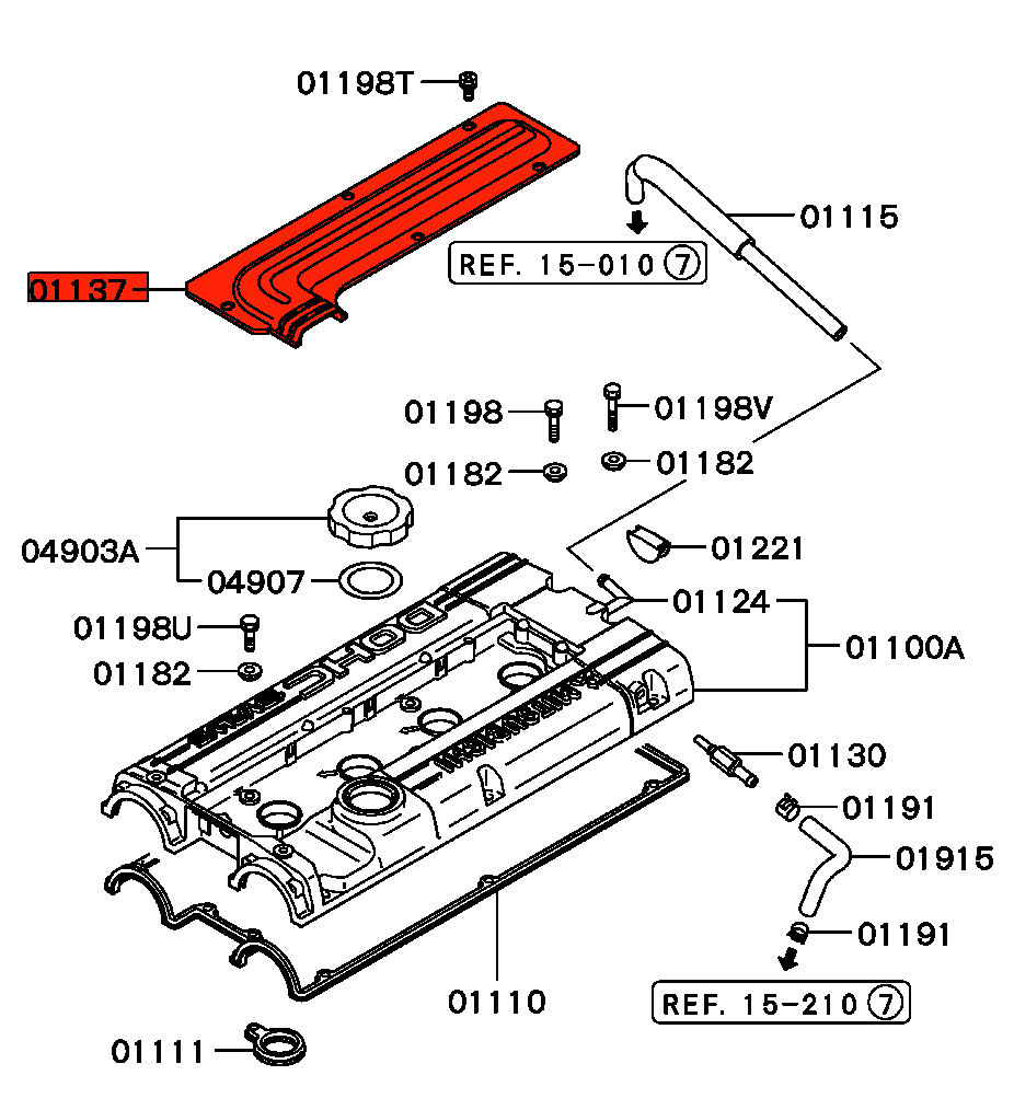 Viamoto Car Parts Mitsubishi Lancer Evo 1 Cd9a X Engine Diagram Spark Plug Plastic Cover Evolution This Is The Part That Covers Up Leads And Plugs