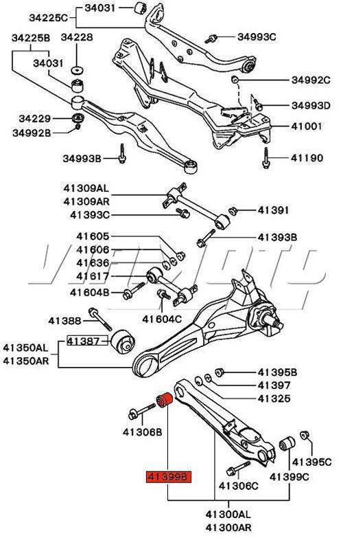 Evo Rear Bottom Arm Inner Bush Location on Mitsubishi Lancer Rear Suspension Diagram