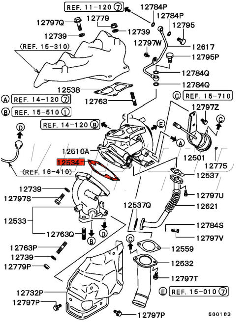 exhaust manifold mitsubishi turbo diagram