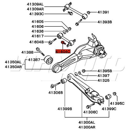 viamoto mitsubishi car parts bolt short dogbone to trailing arm - mitsubishi fto  fto