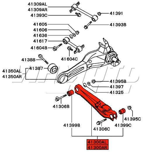 viamoto mitsubishi car parts rear bottom arm