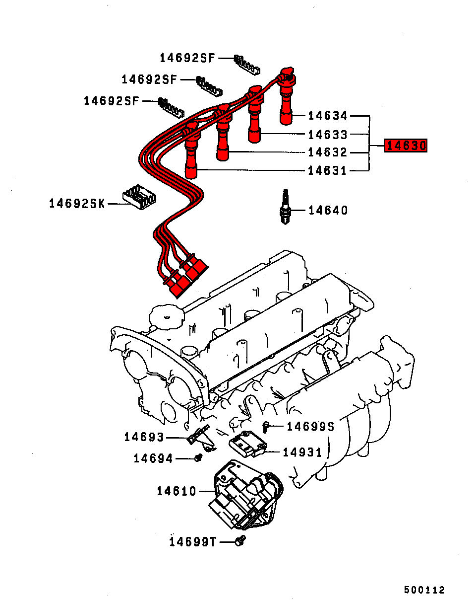 lancer gsr cd5a plug leads exploded diagram viamoto car parts, mitsubishi lancer gsr turbo 1 8 4wd cd5a parts