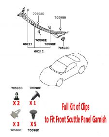 Front Scuttle Panel - Clip Set - Mitsubishi FTO