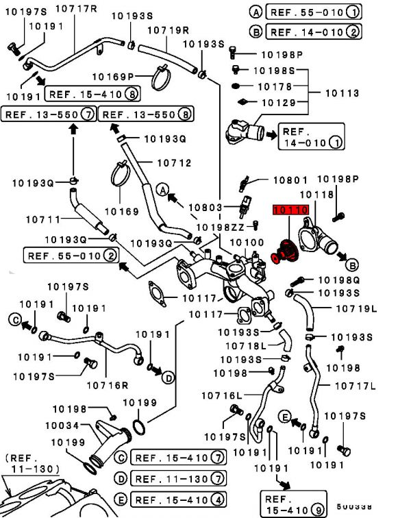 viamoto mitsubishi car parts thermostat