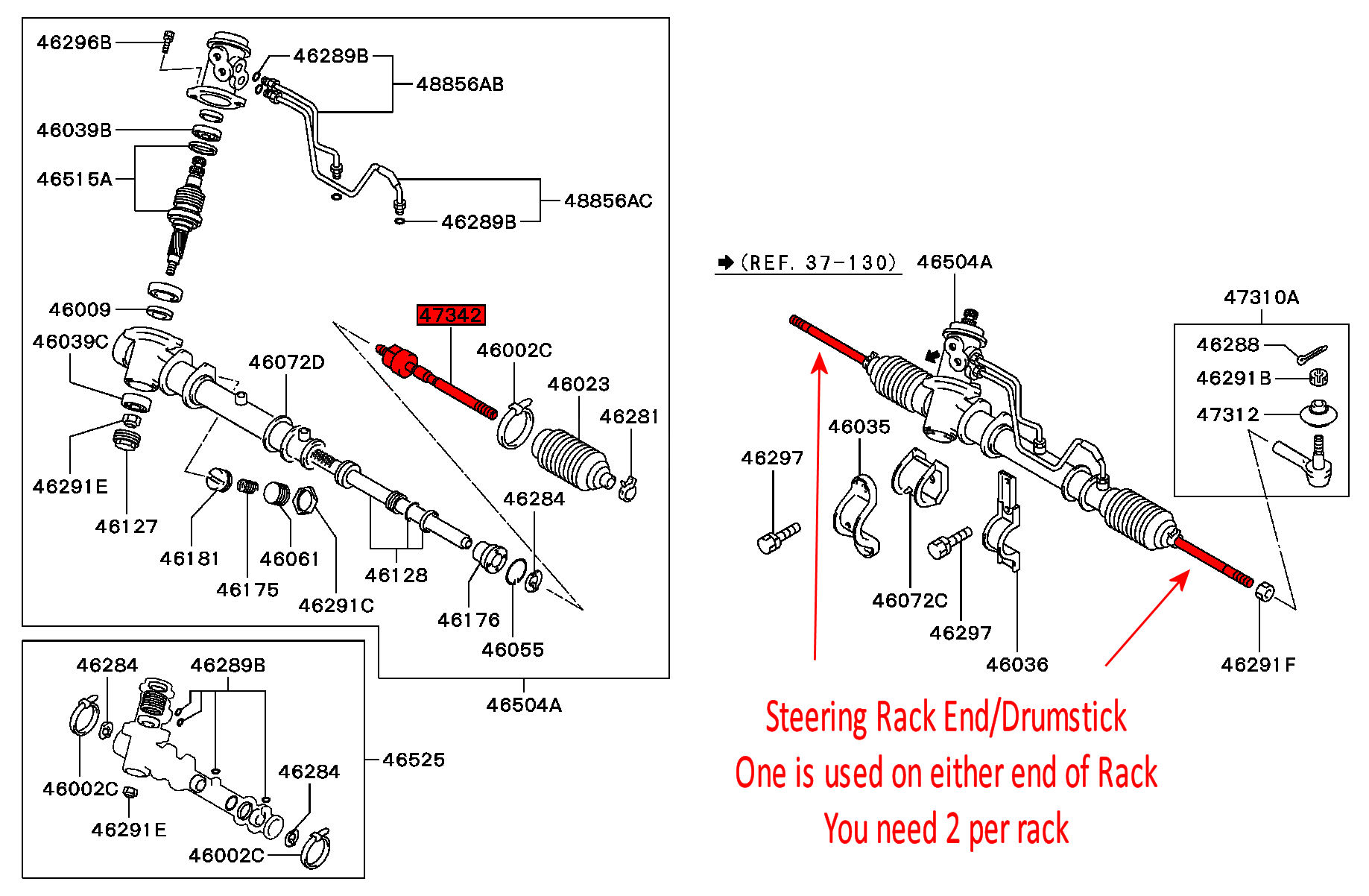 Viamoto Car Parts Mitsubishi Lancer Gsr Turbo 18 4wd Cd5a Steering Schematic Whatever You Call It Its The Part Track Rod End Screws Onto And Thats Covered By Rack Boot See Here For Exploded Diagram
